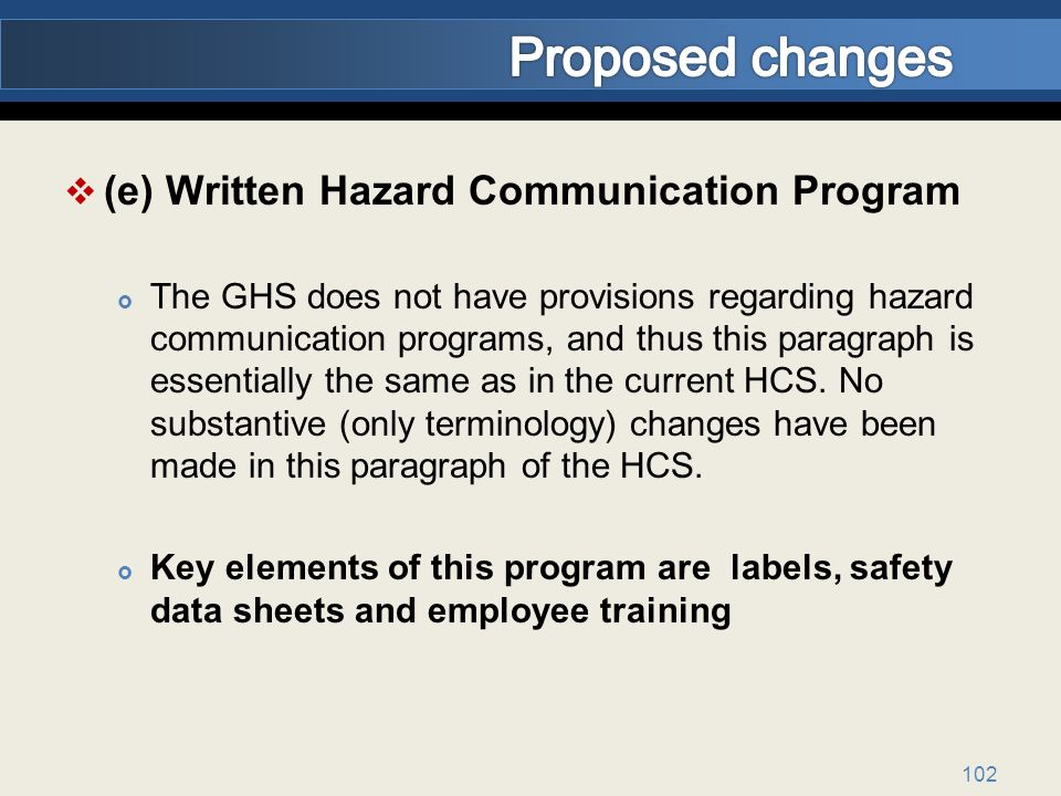 (e) Written Hazard Communication Program The GHS does not have provisions regarding hazard communication programs, and thus this paragraph is essentially the same as in the current HCS.