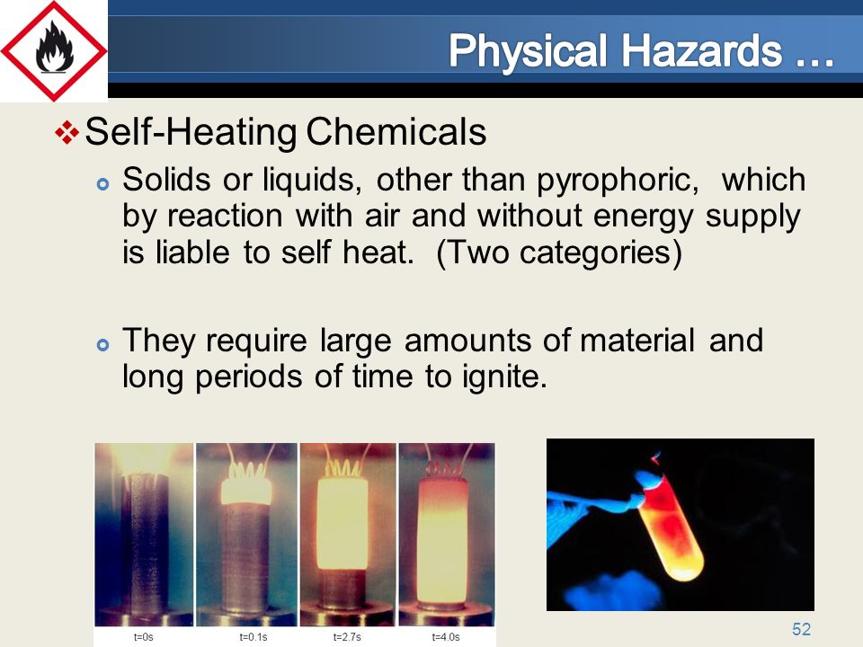 52 Self-Heating Chemicals Solids or liquids, other than pyrophoric, which by reaction with air and without energy supply is liable to self heat.