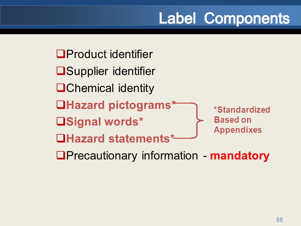 56 Product identifier Supplier identifier Chemical identity Hazard pictograms* Signal words* Hazard statements* Precautionary information - mandatory *Standardized Based on Appendixes