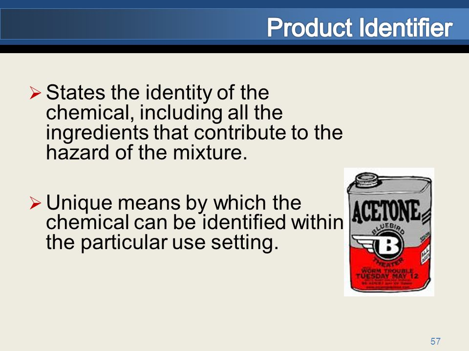 57 States the identity of the chemical, including all the ingredients that contribute to the hazard of the mixture.