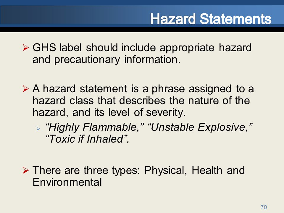 70 GHS label should include appropriate hazard and precautionary information.
