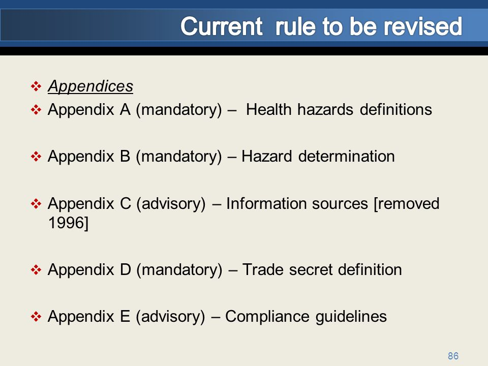 86 Appendices Appendix A (mandatory) – Health hazards definitions Appendix B (mandatory) – Hazard determination Appendix C (advisory) – Information sources [removed 1996] Appendix D (mandatory) – Trade secret definition Appendix E (advisory) – Compliance guidelines