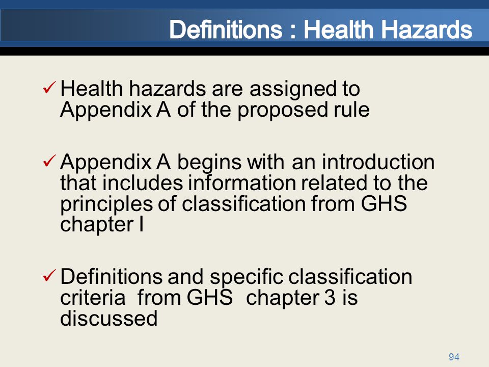 94 Health hazards are assigned to Appendix A of the proposed rule Appendix A begins with an introduction that includes information related to the principles of classification from GHS chapter I Definitions and specific classification criteria from GHS chapter 3 is discussed