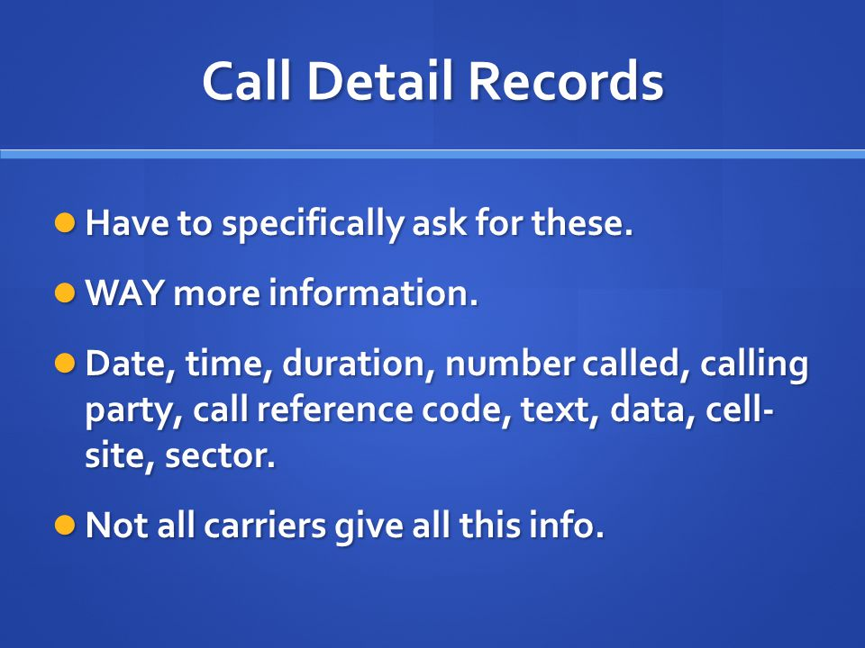 Carrier Key Must specifically request to receive Must specifically request to receive Provides acronyms, and any special instructions for interpreting