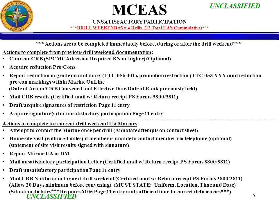 UNCLASSIFIED UNCLASSIFIED 6 Initiate MCEAS package.