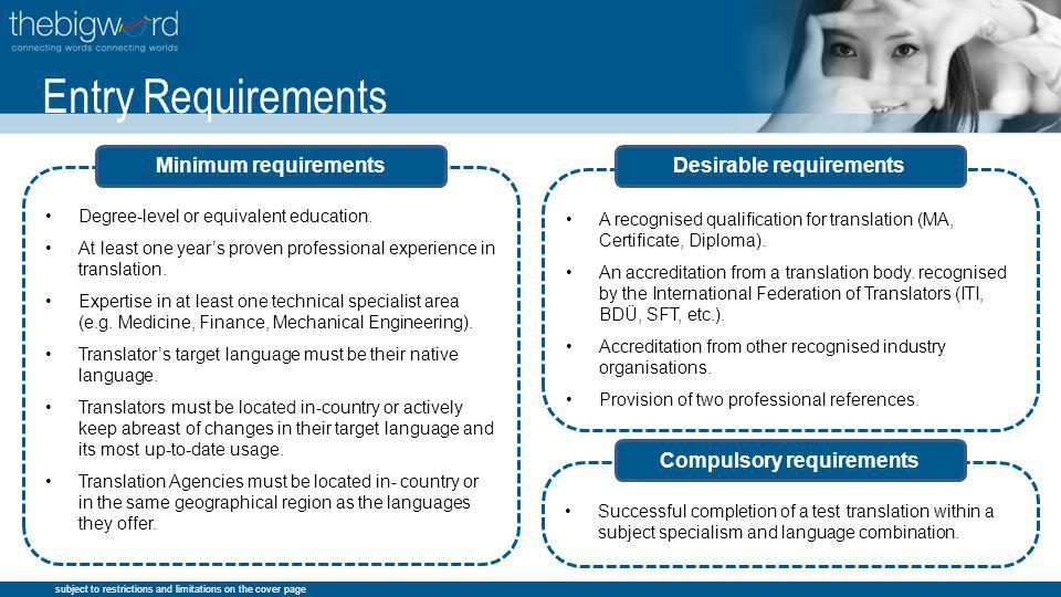 subject to restrictions and limitations on the cover page A recognised qualification for translation (MA, Certificate, Diploma).
