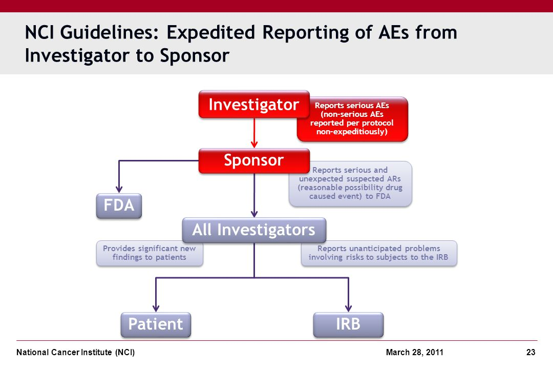 National Cancer Institute (NCI) March 28, 2011 23 Provides significant new findings to patients Reports serious and unexpected suspected ARs (reasonab