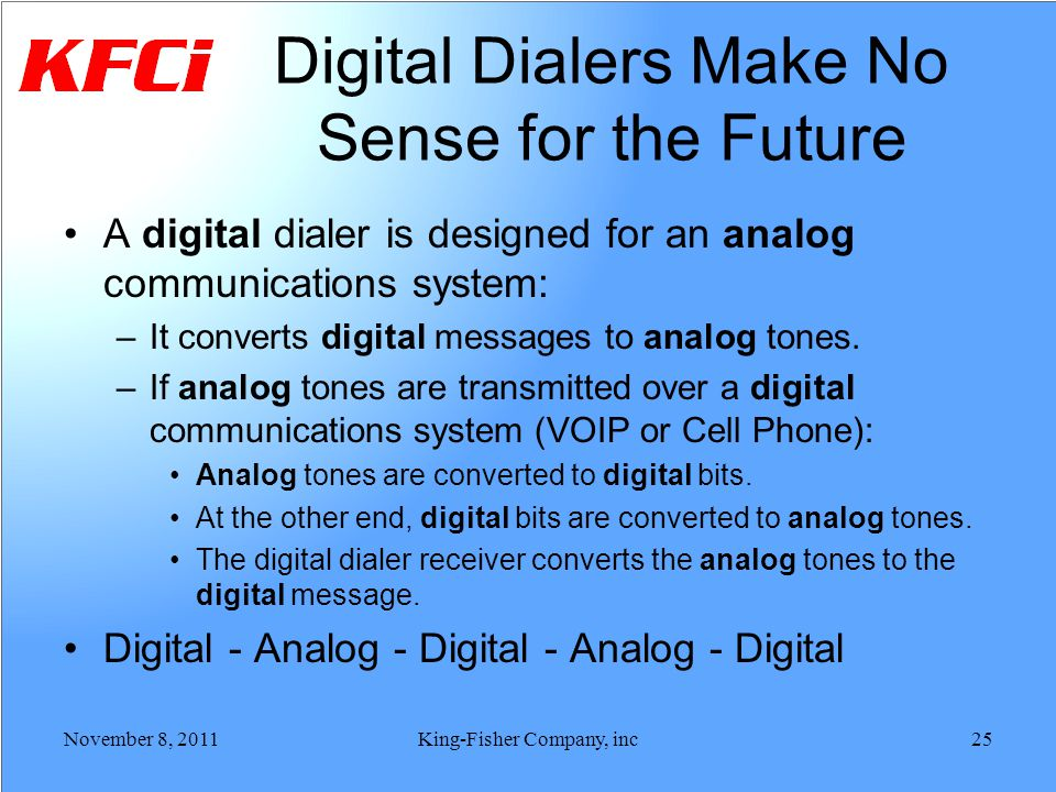 Digital Dialers Make No Sense for the Future A digital dialer is designed for an analog communications system: –It converts digital messages to analog