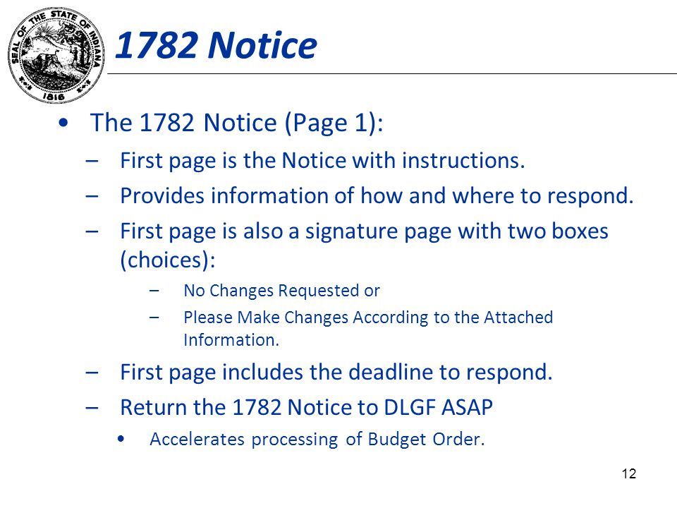 1782 Notice The 1782 Notice (Page 1): –First page is the Notice with instructions.