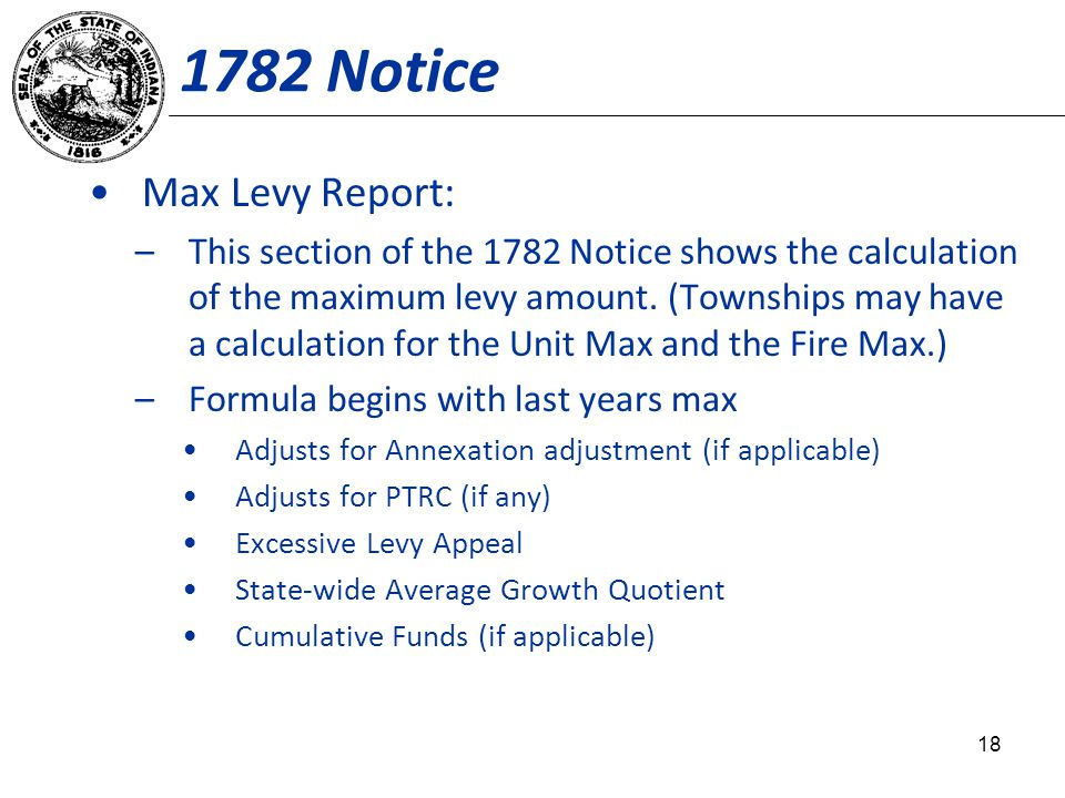 1782 Notice Max Levy Report: –This section of the 1782 Notice shows the calculation of the maximum levy amount. (Townships may have a calculation for