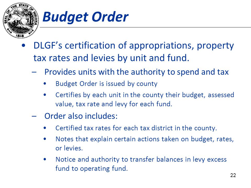 Budget Order DLGFs certification of appropriations, property tax rates and levies by unit and fund.