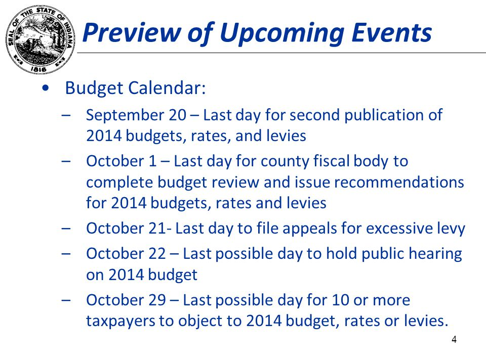 Preview of Upcoming Events Budget Calendar: –September 20 – Last day for second publication of 2014 budgets, rates, and levies –October 1 – Last day for county fiscal body to complete budget review and issue recommendations for 2014 budgets, rates and levies –October 21- Last day to file appeals for excessive levy –October 22 – Last possible day to hold public hearing on 2014 budget –October 29 – Last possible day for 10 or more taxpayers to object to 2014 budget, rates or levies.