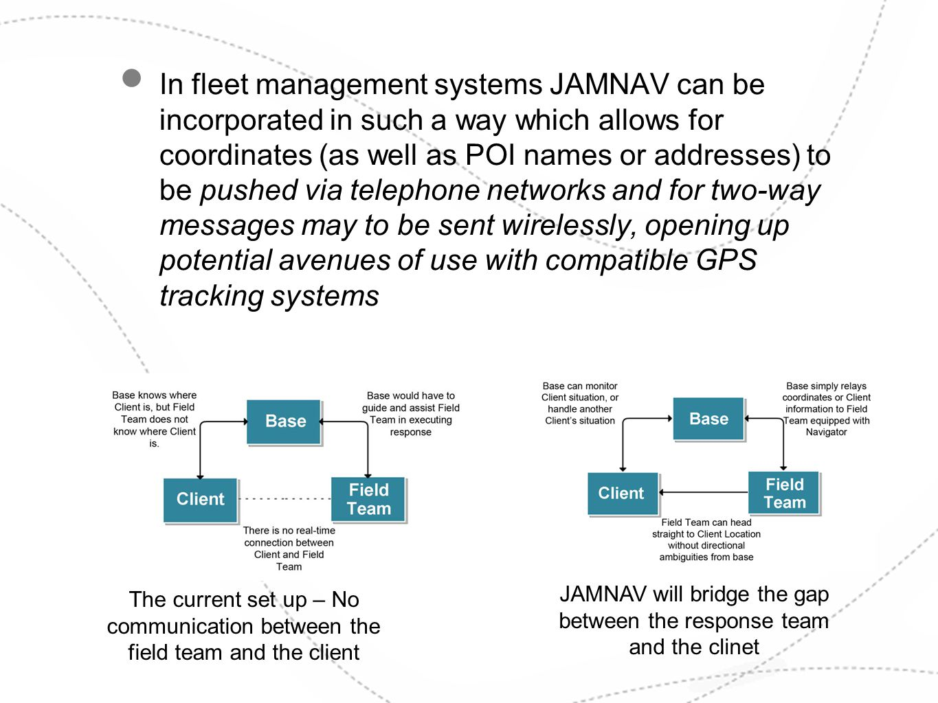 In fleet management systems JAMNAV can be incorporated in such a way which allows for coordinates (as well as POI names or addresses) to be pushed via