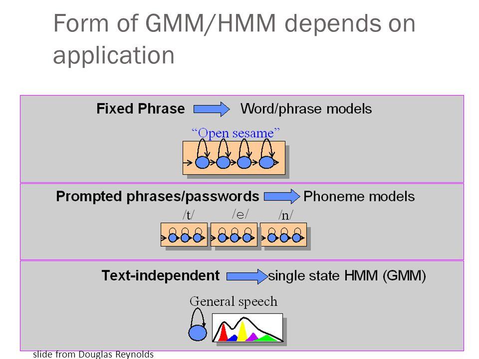 Form of GMM/HMM depends on application slide from Douglas Reynolds