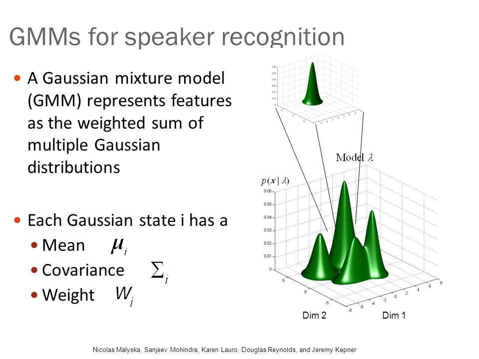 GMMs for speaker recognition A Gaussian mixture model (GMM) represents features as the weighted sum of multiple Gaussian distributions Each Gaussian s