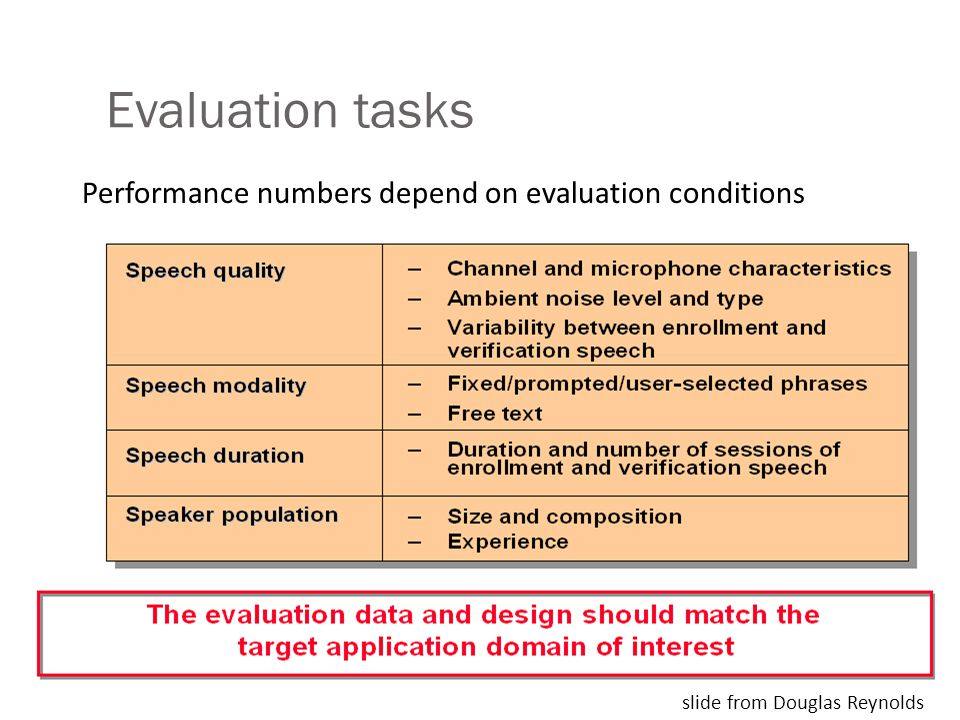Evaluation tasks slide from Douglas Reynolds Performance numbers depend on evaluation conditions