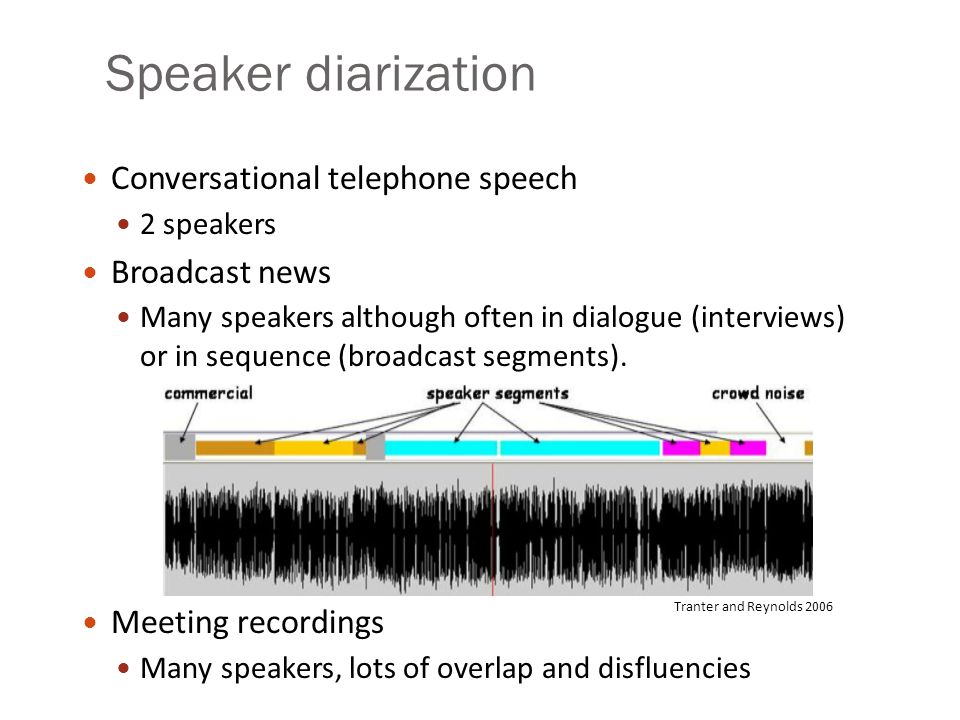Speaker diarization Conversational telephone speech 2 speakers Broadcast news Many speakers although often in dialogue (interviews) or in sequence (br