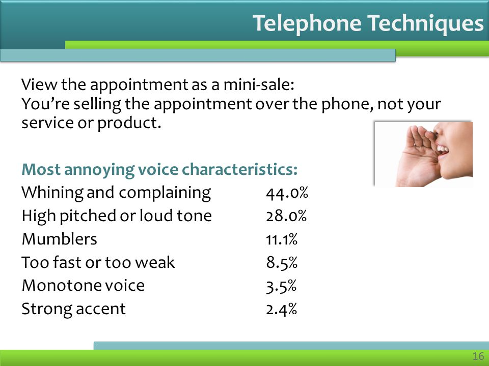 16 View the appointment as a mini-sale: Youre selling the appointment over the phone, not your service or product.