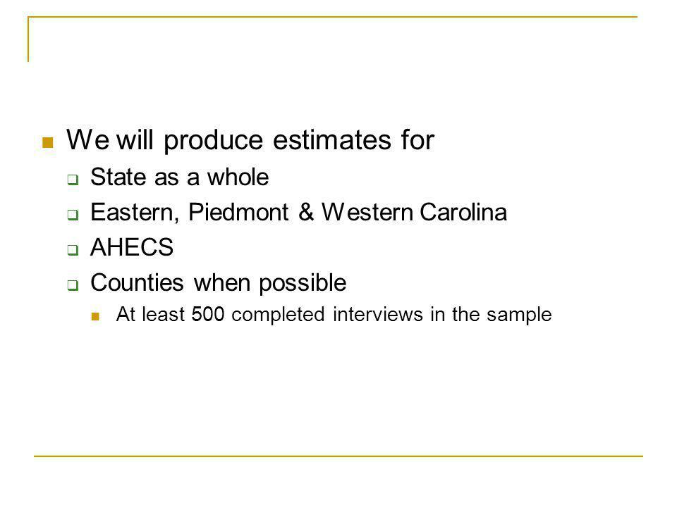 We will produce estimates for State as a whole Eastern, Piedmont & Western Carolina AHECS Counties when possible At least 500 completed interviews in the sample