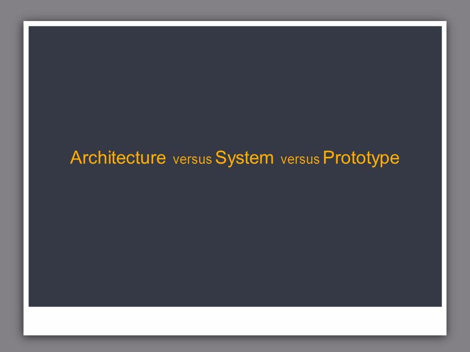 Architecture versus System versus Prototype