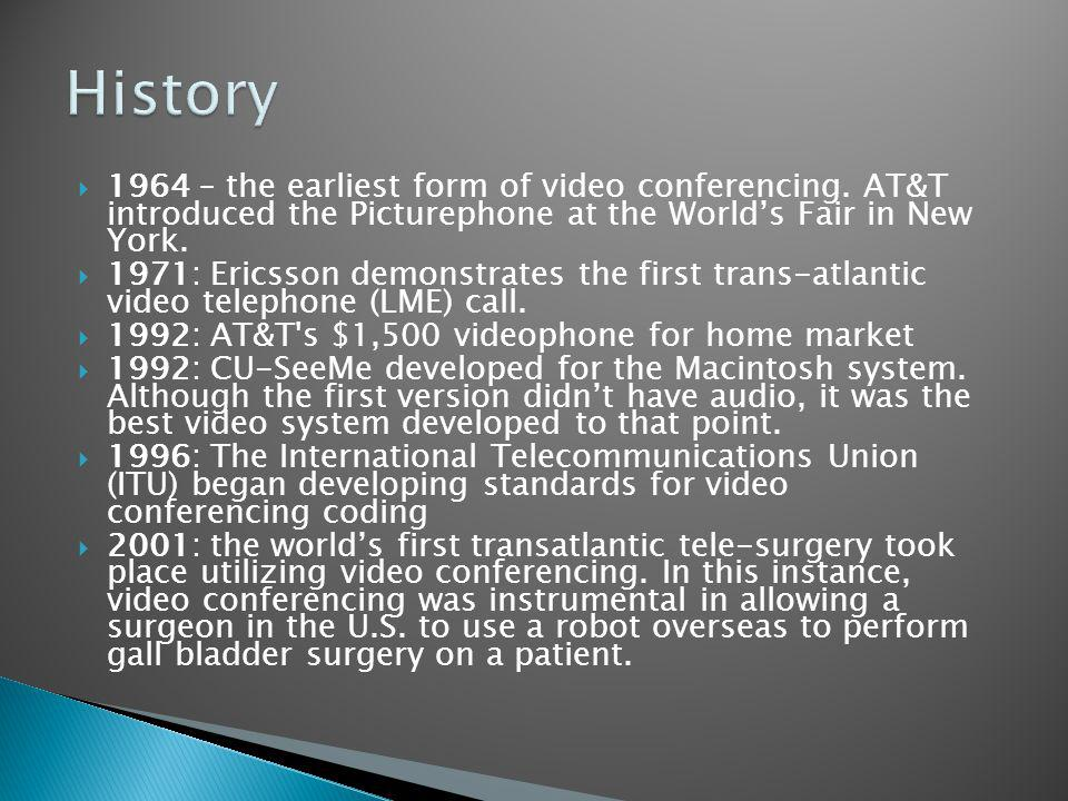 1964 – the earliest form of video conferencing.