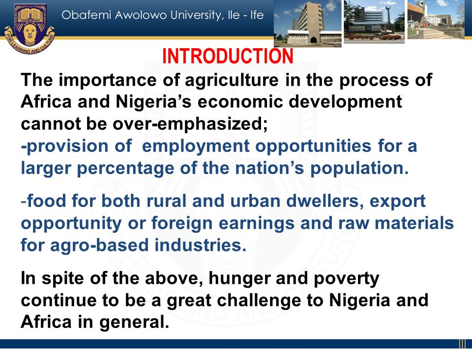 INTRODUCTION The importance of agriculture in the process of Africa and Nigerias economic development cannot be over-emphasized; -provision of employment opportunities for a larger percentage of the nations population.
