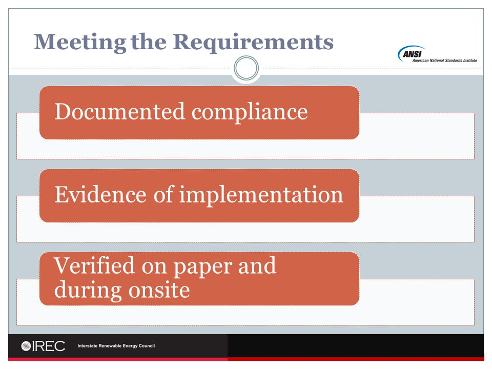 Meeting the Requirements Documented complianceEvidence of implementation Verified on paper and during onsite