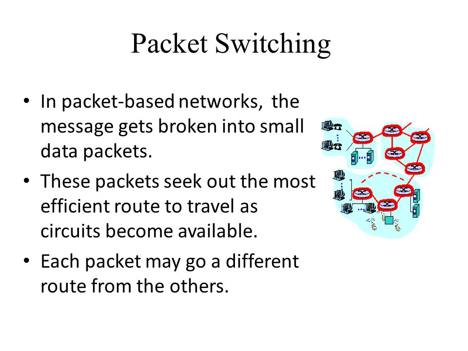 Packet Switching In packet-based networks, the message gets broken into small data packets. These packets seek out the most efficient route to travel