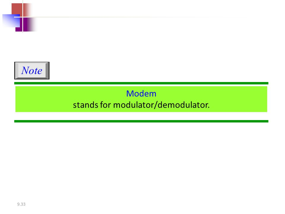 9.33 Modem stands for modulator/demodulator. Note