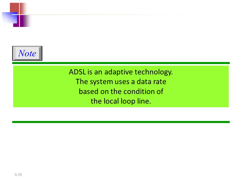 9.39 ADSL is an adaptive technology. The system uses a data rate based on the condition of the local loop line. Note