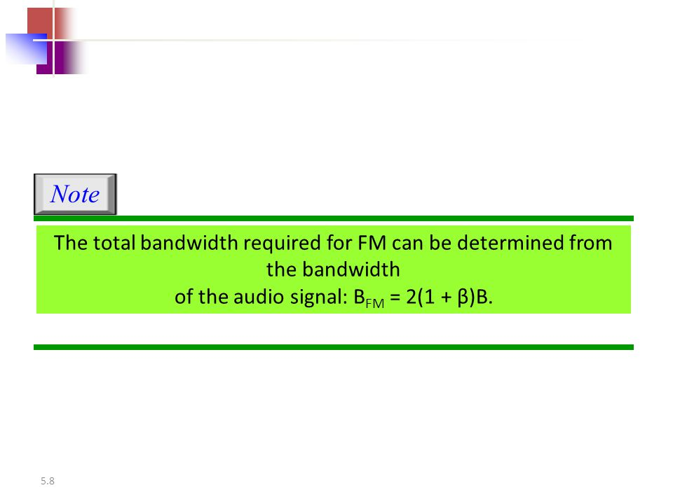 5.8 The total bandwidth required for FM can be determined from the bandwidth of the audio signal: B FM = 2(1 + β)B. Note