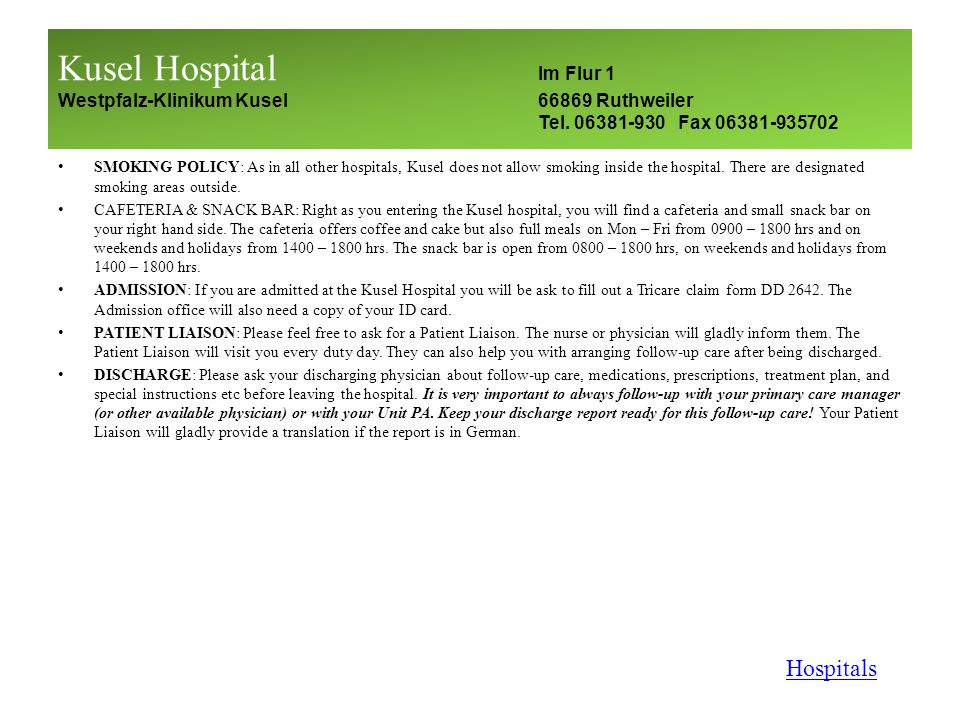 Fact Sheet - So Youre Going to be Admitted to a German Hospital… What do I do first.