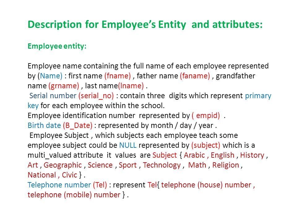 Description for Employees Entity and attributes: Employee entity: Employee name containing the full name of each employee represented by (Name) : first name (fname), father name (faname), grandfather name (grname), last name(lname).