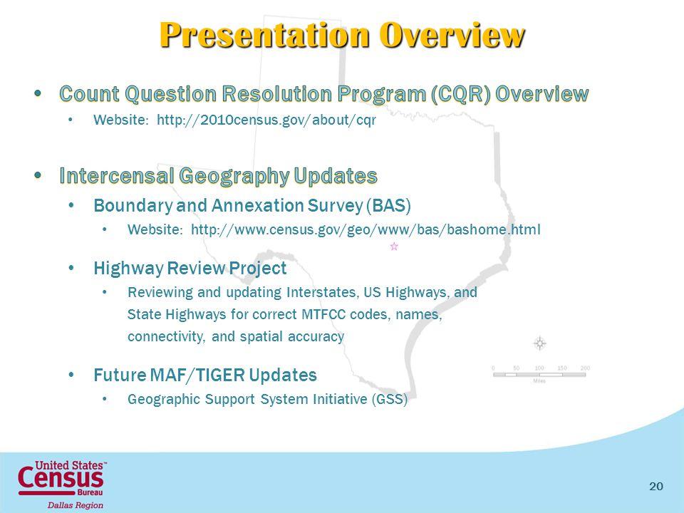 20 Presentation Overview