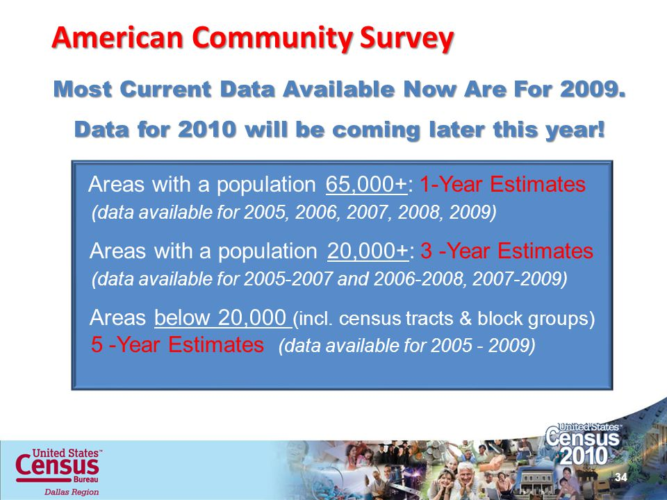 American Community Survey Areas with a population 65,000+: 1-Year Estimates (data available for 2005, 2006, 2007, 2008, 2009) Areas with a population