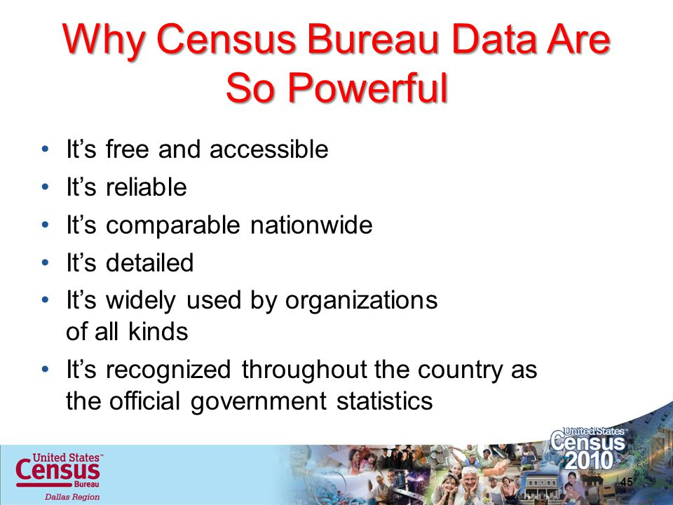 Why Census Bureau Data Are So Powerful Its free and accessible Its reliable Its comparable nationwide Its detailed Its widely used by organizations of