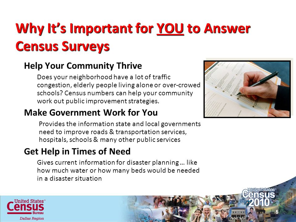 Why Its Important for YOU to Answer Census Surveys Help Your Community Thrive Does your neighborhood have a lot of traffic congestion, elderly people