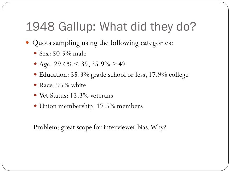 1948 Gallup: What did they do? Quota sampling using the following categories: Sex: 50.5% male Age: 29.6% 49 Education: 35.3% grade school or less, 17.