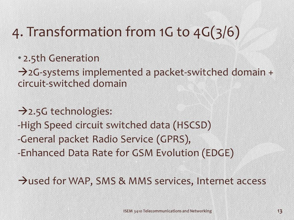 4. Transformation from 1G to 4G(3/6) 2.5th Generation 2G-systems implemented a packet-switched domain + circuit-switched domain 2.5G technologies: -Hi