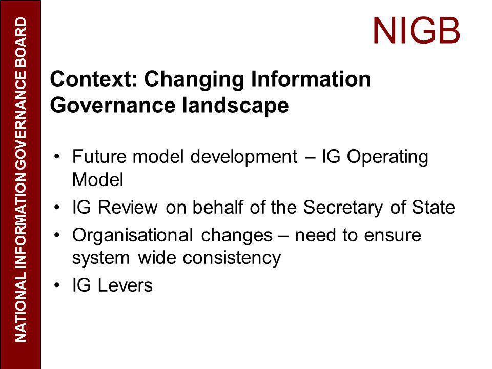 NIGB NATIONAL INFORMATION GOVERNANCE BOARD Context: Changing Information Governance landscape Future model development – IG Operating Model IG Review