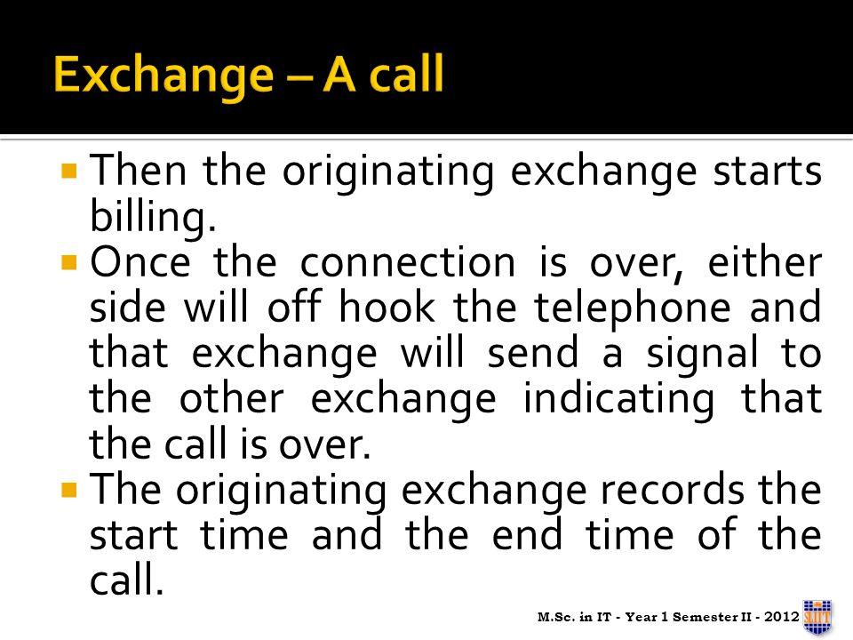 Then the originating exchange starts billing.