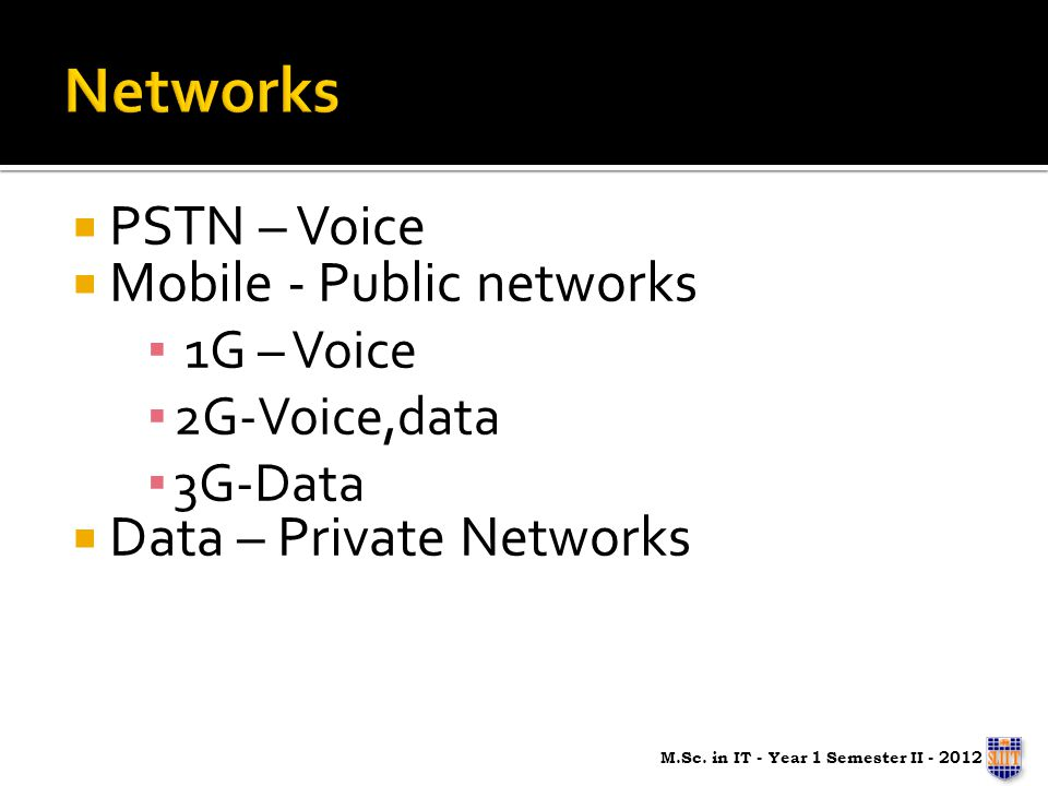 PSTN – Voice Mobile - Public networks 1G – Voice 2G-Voice,data 3G-Data Data – Private Networks M.Sc. in IT - Year 1 Semester II - 2012