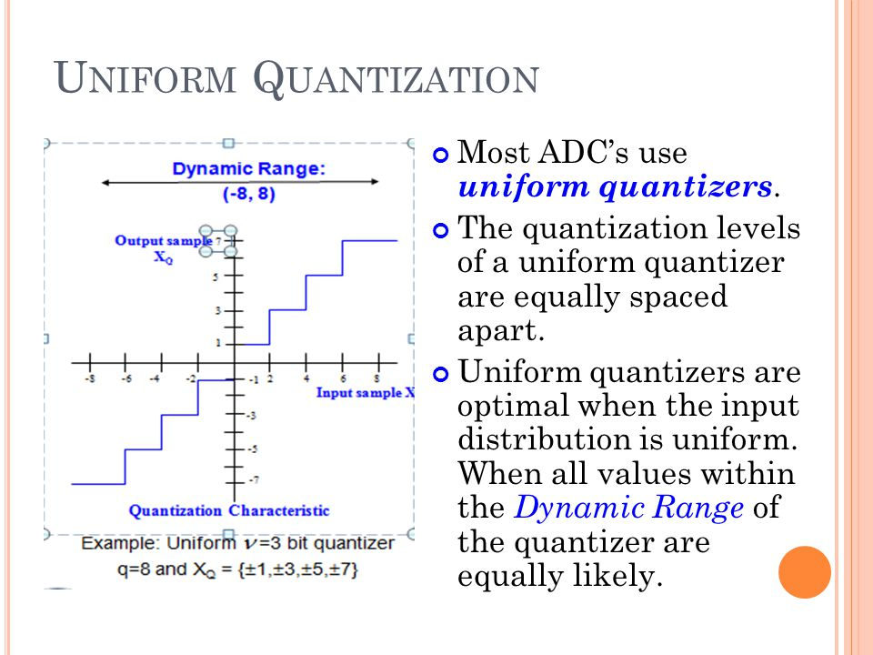 U NIFORM Q UANTIZATION Most ADCs use uniform quantizers. The quantization levels of a uniform quantizer are equally spaced apart. Uniform quantizers a