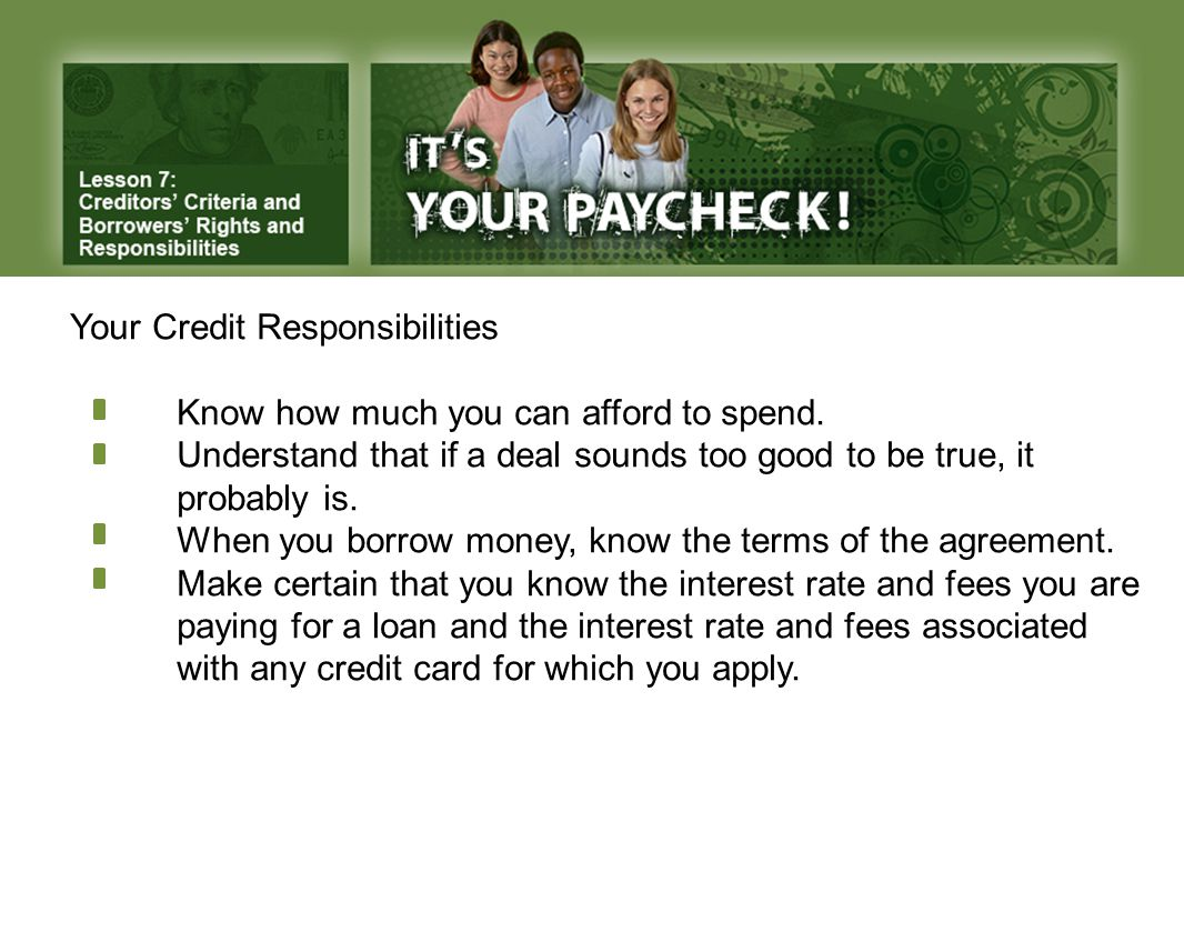 Your Credit Responsibilities Know how much you can afford to spend.