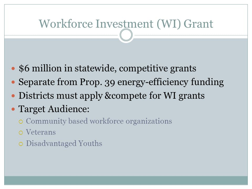 Workforce Investment (WI) Grant $6 million in statewide, competitive grants Separate from Prop.