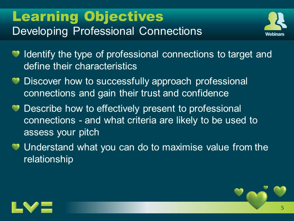 5 Learning Objectives Developing Professional Connections Identify the type of professional connections to target and define their characteristics Dis