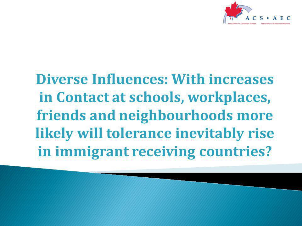 Diverse Influences: With increases in Contact at schools, workplaces, friends and neighbourhoods more likely will tolerance inevitably rise in immigrant receiving countries
