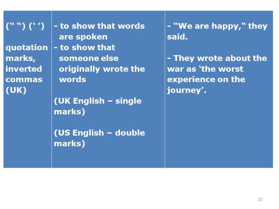 23 ( ) quotation marks, inverted commas (UK) - to show that words are spoken - to show that someone else originally wrote the words (UK English – sing