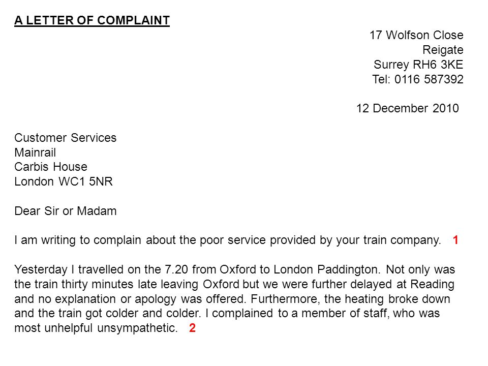 Examples Of Customer Service Letters Of Complaint