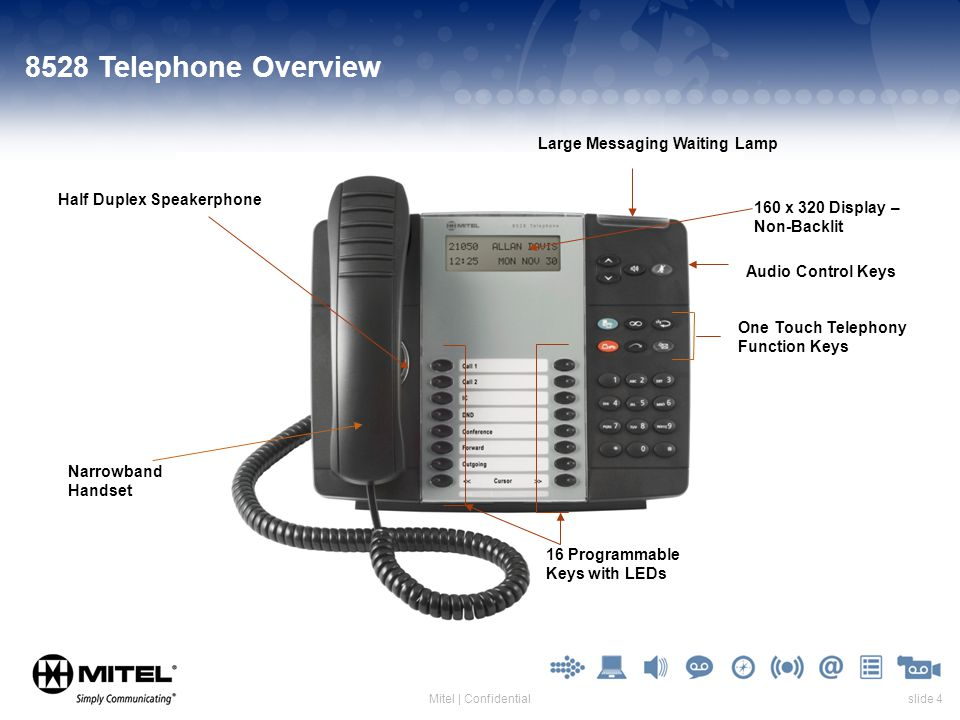 slide 4Mitel | Confidential 8528 Telephone Overview 16 Programmable Keys with LEDs Half Duplex Speakerphone 160 x 320 Display – Non-Backlit Narrowband Handset One Touch Telephony Function Keys Large Messaging Waiting Lamp Audio Control Keys
